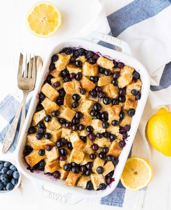 Easy Blueberry Stuffed French Toast with Lemon. Our FAVORITE overnight French toast casserole.
