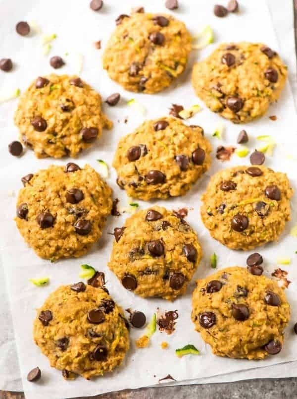 A sheet pan of Zucchini Cookies with oatmeal and chocolate chips