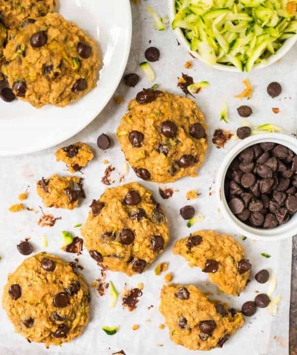 Zucchini Chocolate Chip Cookies ready to eat