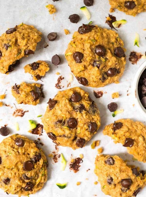 Zucchini Chocolate Chip Cookies with oatmeal