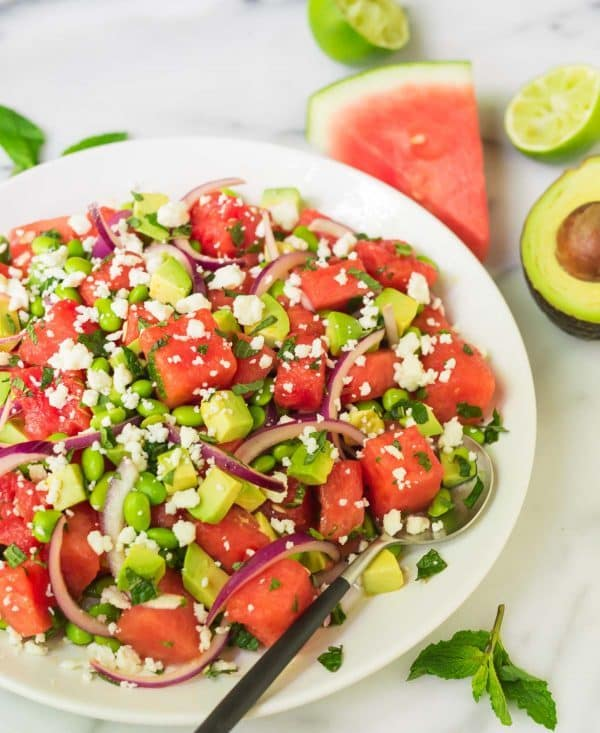 Watermelon Feta Salad with Red Onion, Mint, Avocado, and Lime. Simple, healthy, and SO refreshing. One of the best summer salad recipes! Recipe at wellplated.com | @wellplated