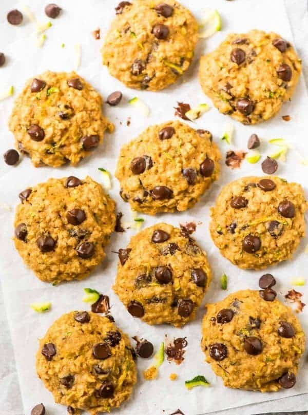 Zucchini Chocolate Chip Cookies arranged on parchment paper
