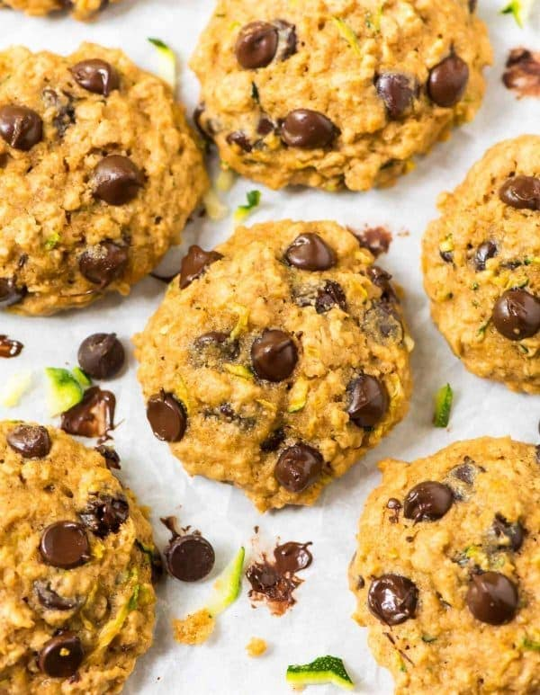 Thick, soft, healthy Zucchini Cookies made with oatmeal and chocolate chips
