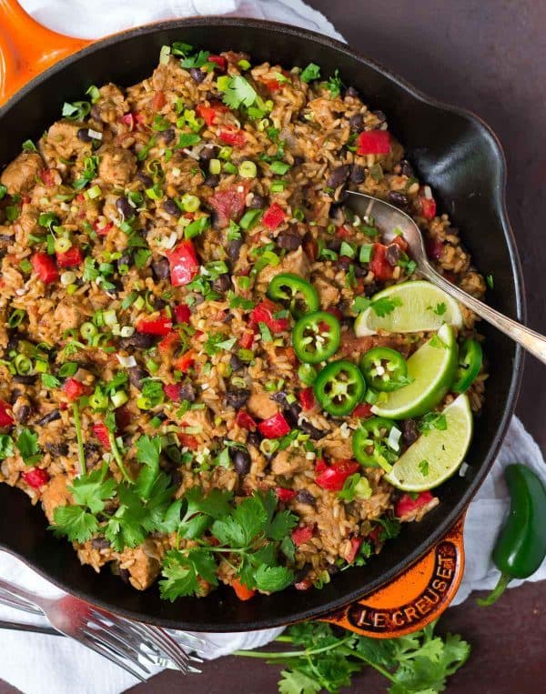 Healthy Mexican Chicken and Rice Skillet. Easy ONE POT recipe! Recipe at wellplated.com