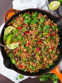 Healthy One Pot Mexican Chicken and Rice Skillet. Easy recipe that's perfect for weeknight dinners! Fast clean up and a great way to use up ingredients you already have on hand {gluten free} Recipe at wellplated.com