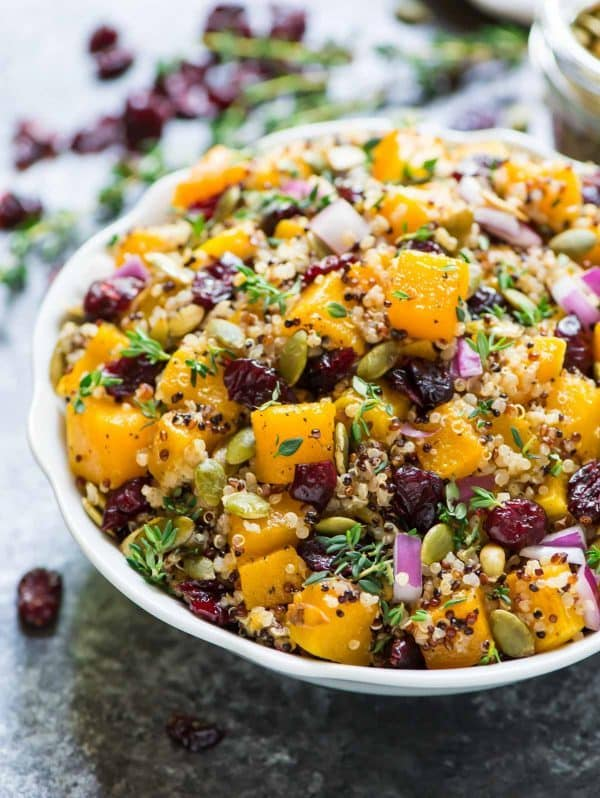 Butternut Squash Cranberry Quinoa Salad. The best fall flavors come together in this easy, healthy recipe! Recipe at wellplated.com | @wellplated
