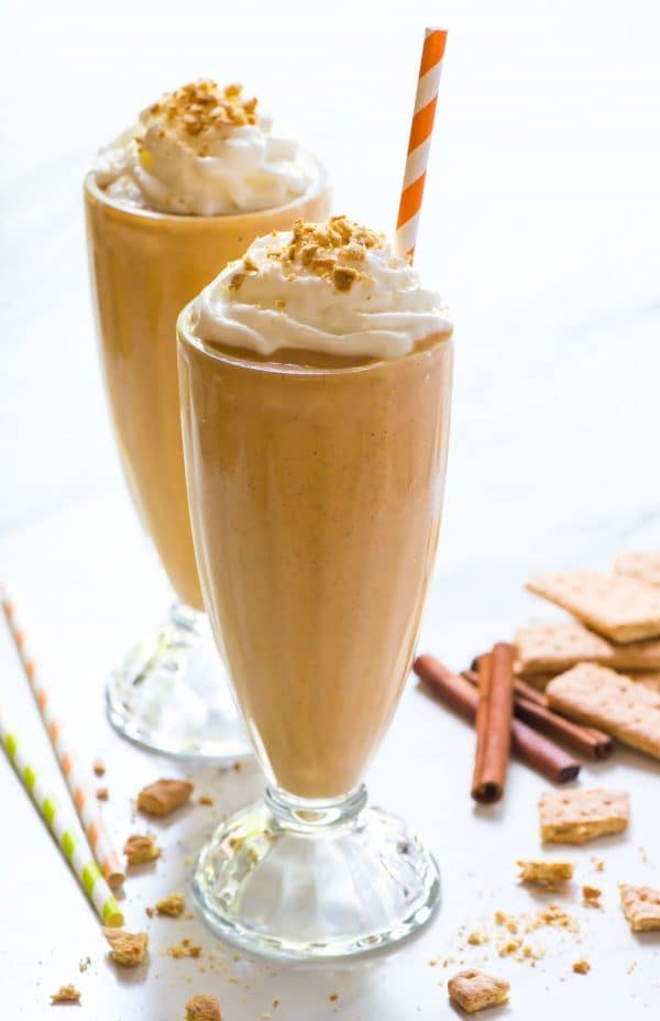 Healthy Pumpkin Milkshake. Like pumpkin pie in a glass! This yummy fall dessert is a great way to use up leftover pumpkin puree. Made with banana, frozen yogurt, pumpkin, and warm fall spices. Recipe at wellplated.com
