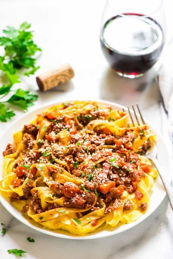dinner plate with pasta and healthy turkey bolognese sauce