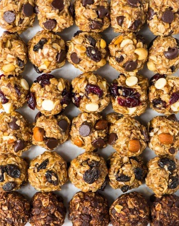 sheet pan full of no bake energy balls