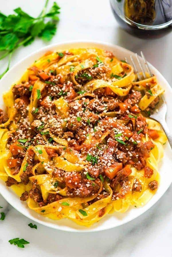 Plate of pasta with turkey bolognese sauce