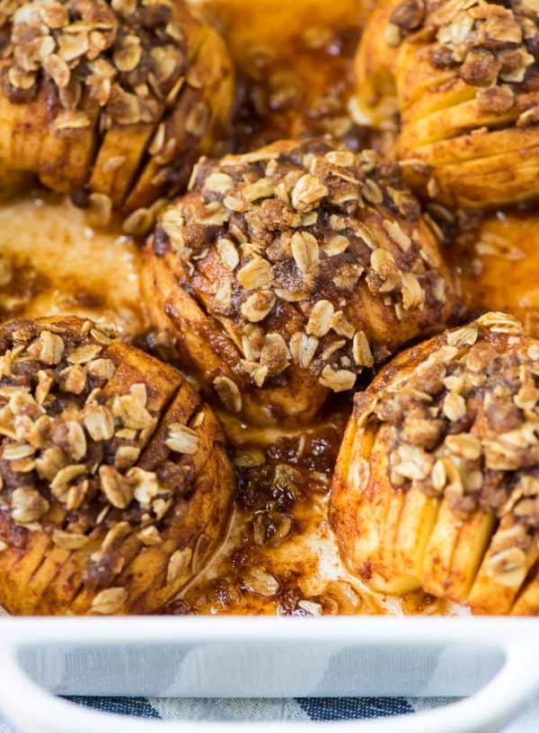 Hasselback Apples. Easy and delicious healthy fall dessert.