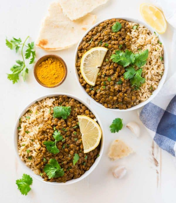 Instant Pot Lentil Curry Dal. Easy, healthy, vegan, and SO CREAMY! Made with Indian Spices and coconut milk.