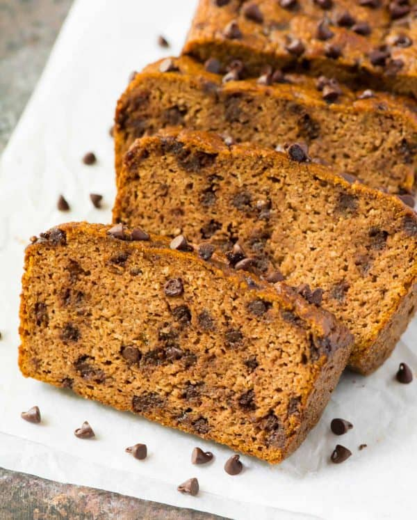 Paleo Chocolate Chip Pumpkin Bread. Easy, delicious, low carb, and gluten free! Made with almond flour and pure maple syrup.