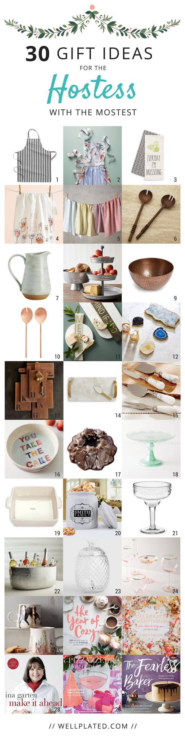 30 Hostess Gift Ideas for any budget! Easy, inexpensive gifts for the holidays and Christmas! #giftguide #hostessgift #christmas #holiday