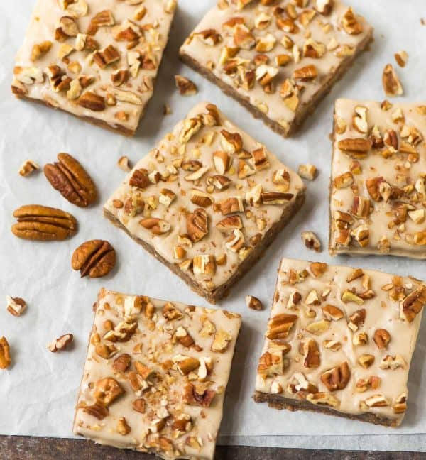 Secretly healthy Maple Pecan Blondies made with white beans or chickpea, maple syrup, and pecans. Vegan, gluten free, NO butter, and they taste AMAZING. Chewy pecan blondie browies that everyone loves!