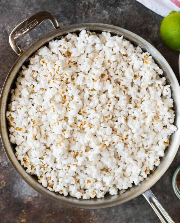 Spicy Taco Popcorn with Lime. An easy, healthy snack. Perfect party appetizer!