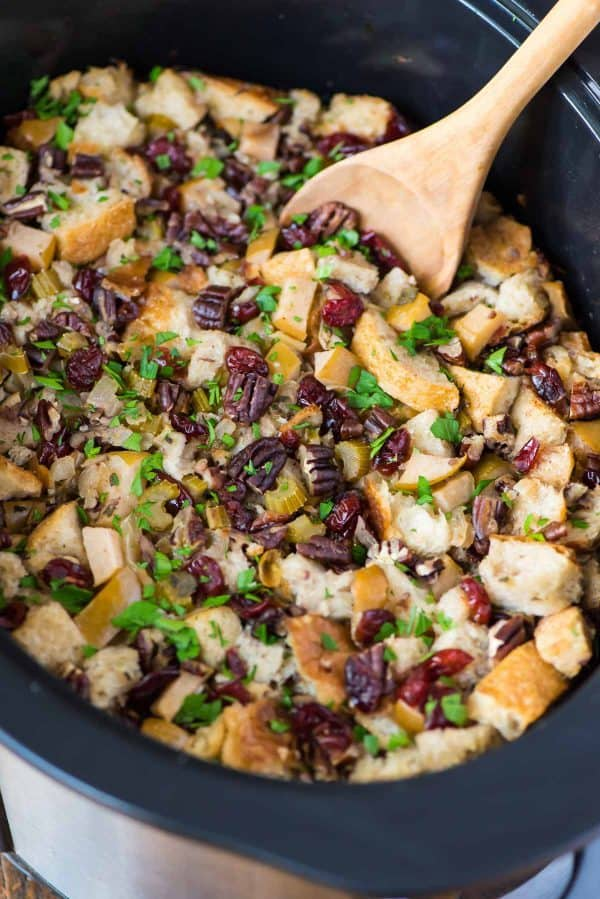 Crockpot Stuffing with Apples. Easy slow cooker method that frees up the oven on Thanksgiving and is perfect for a crowd.
