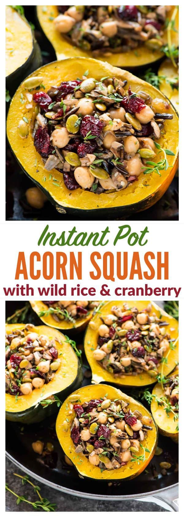 Instant Pot Stuffed Acorn Squash with Wild Rice, Cranberry, Mushroom and Chickpeas. A healthy, filling vegetarian or vegan meal that's so easy and delicious! {vegan, vegetarian, gluten free}