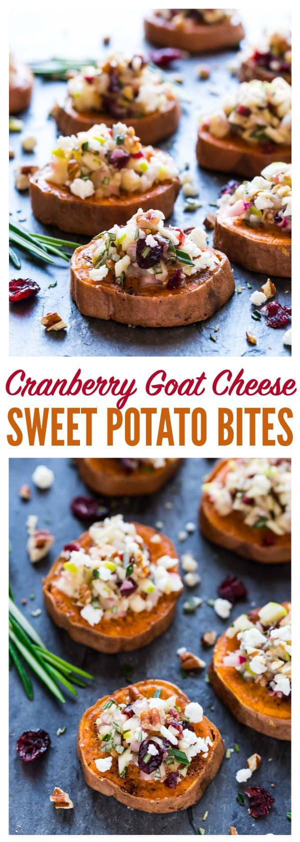 Baked Sweet Potato Rounds with Goat Cheese, Cranberry, Apple, and Pecans. An easy and addictive sweet potato appetizer! Healthy baked sweet potato slices roasted until crispy, then topped with a delicious combination of holiday flavors. Perfect easy appetizer for Thanksgiving, Christmas, and any party! #appetizer