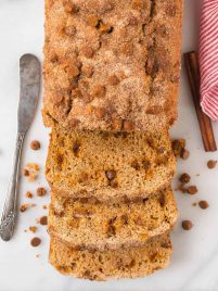 This moist, tender Snickerdoodle Bread is pure heaven! Made with Greek yogurt, cinnamon chips, and an incredible cinnamon sugar topping. An easy, healthy recipe without sour cream. Bake as mini loaves or a single loaf. Perfect for breakfast, special treats, and even dessert. #snickerdoodle #bread #easy #healthy