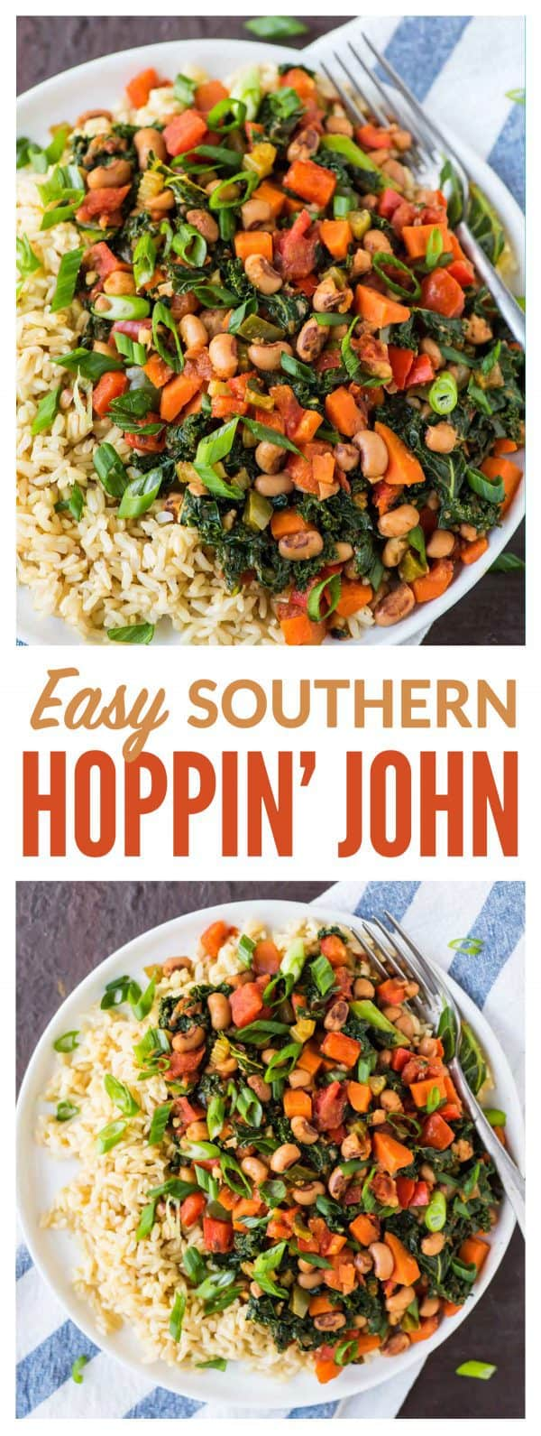 Easy Vegetarian Hoppin' John! A healthy twist on traditional Southern Hoppin' John made with with rice, black eyed peas, and greens. Great for New Years or anytime you need a fast dinner recipe! #healthy #hoppinjohn #newyears #easy #vegetarian