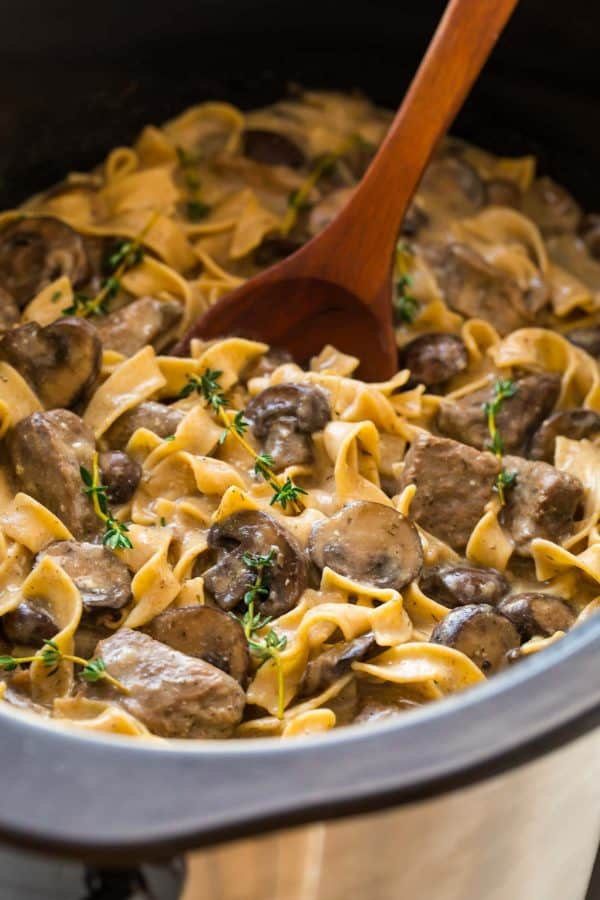 Slow Cooker Beef Stroganoff from Scratch | Well Plated by Erin