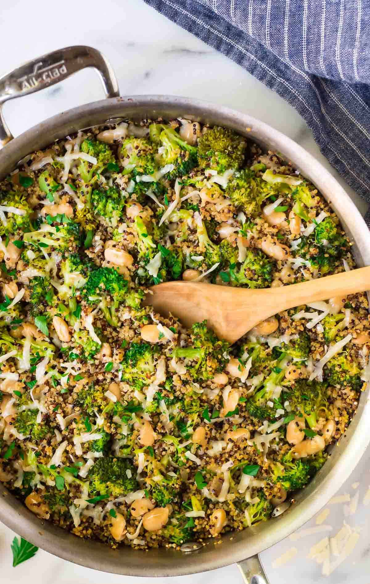 One Pan Broccoli Quinoa Skillet With Parmesan And White Beans