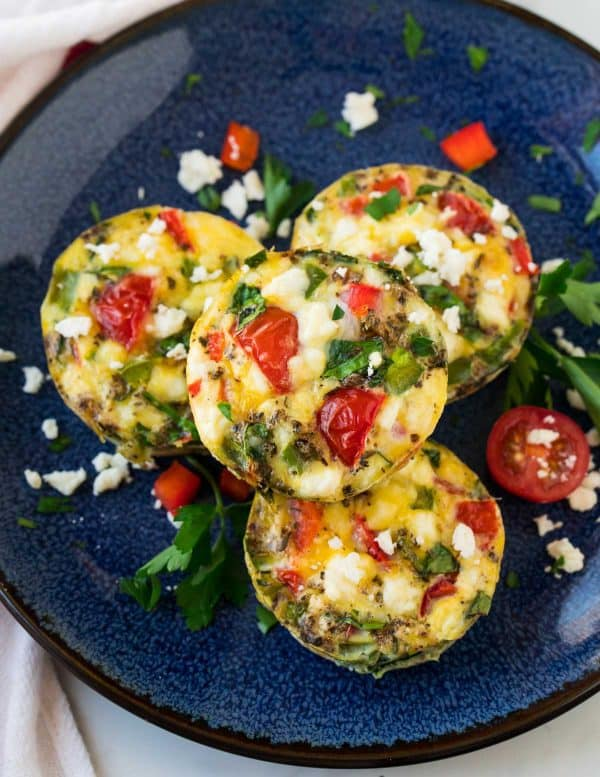 Spinach egg muffins on a plate for kids and adults