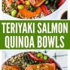 Teriyaki Salmon Quinoa Bowl with Kale and Fresh Veggies. Easy, healthy, and gluten free!