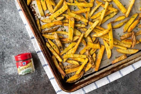 A pan of baked French Fries | healthy and easy!