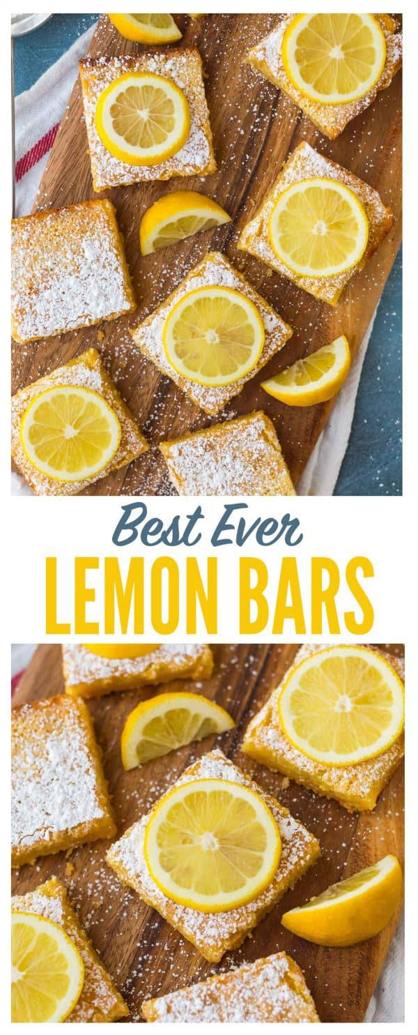 The BEST Lemon Bars recipe! Lusciously creamy and bursting with bright lemon flavor, these easy lemon squares with shortbread base take minutes to prep and always wow the crowd. Better than the Pioneer Woman, Ina Garten, and Paula Deen combined! #easy #lemonbars