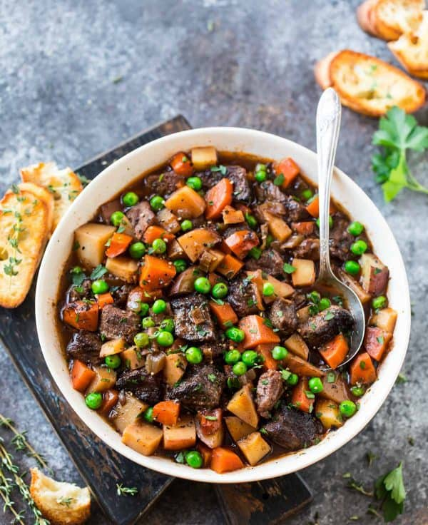 bowl of beef stew made in a slow cooker