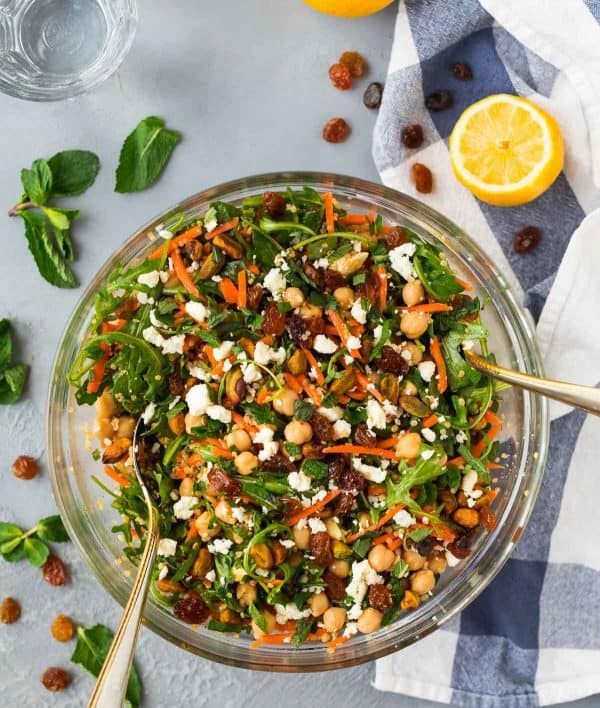 Moroccan Chickpea Salad with Carrots, Quinoa, and Feta. Bright and healthy! Perfect for meal prep, lunches, or a light dinner, this Moroccan spiced chickpea salad will have you coming back for seconds.