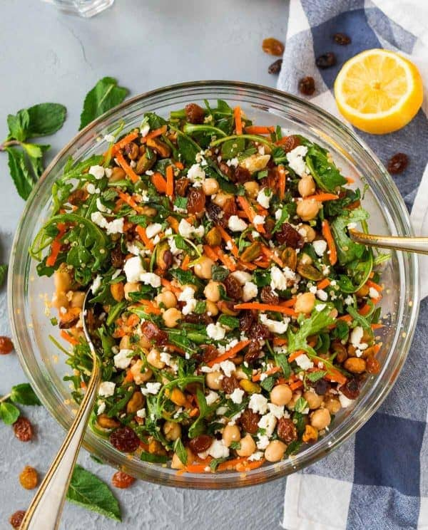 Moroccan Chickpea Salad with Carrots, Quinoa, and Feta. This light, bright, healthy salad recipe is filled with Moroccan spices and fresh ingredients!