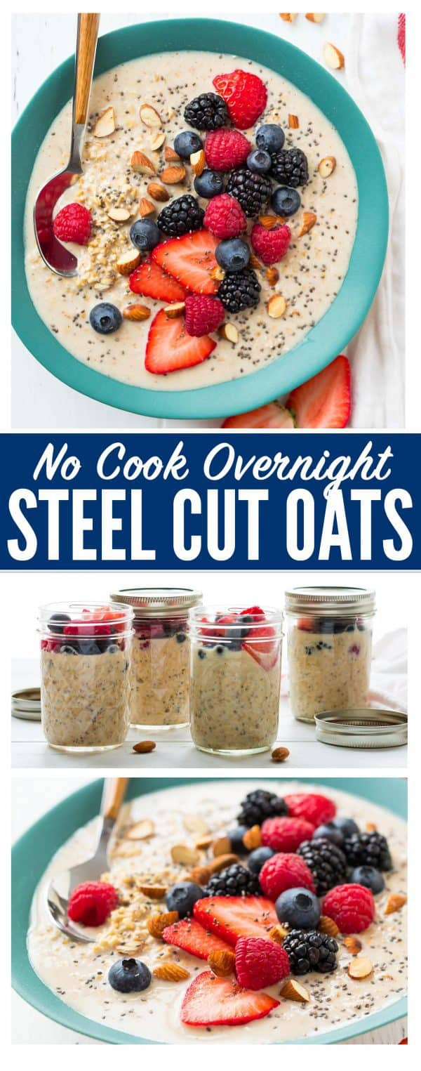 How to make the best Overnight Steel Cut Oats. An easy, healthy no cook breakfast! Made with almond milk, peanut butter, and chia seeds, this delicious recipe is endlessly customizable, vegan friendly, and can be stored in a mason jar in the refrigerator all week.