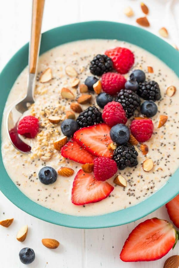 Overnight Steel Cut Oats. This no cook breakfast recipe is endlessly customizable with regular or nondairy milk, optional mix-ins, and nut butter! Easy, delicious, and healthy!