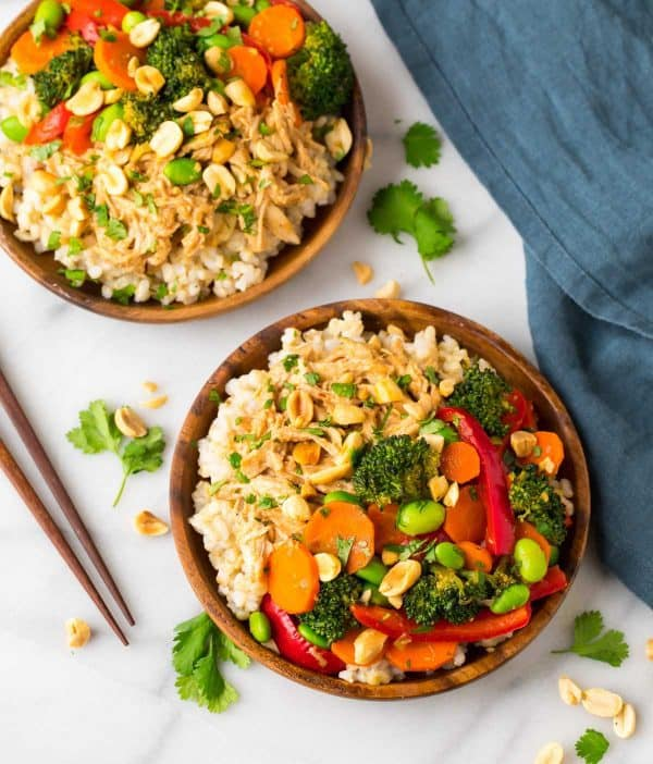 Healthy Thai Peanut Chicken with Stir Fry Vegetables and Rice