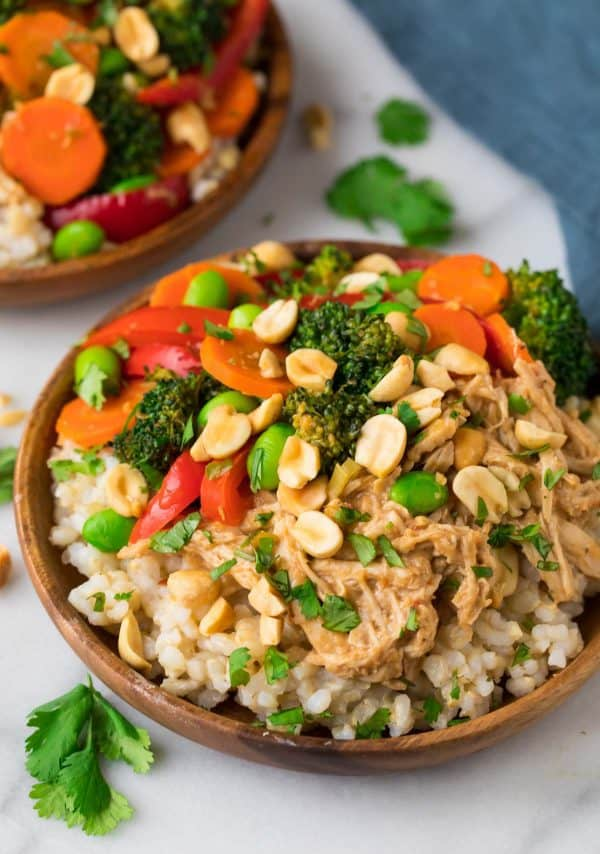 Peanut Chicken Sauce with Veggies and Rice