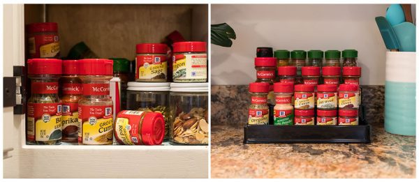 Spice cabinet organization before and after, including spices used to make vegan baked fries.
