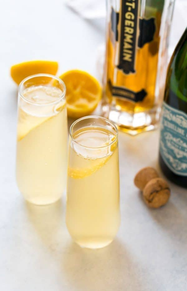 A bright and refreshing St. Germain cocktail made with St. Germain, gin or vodka, fresh lemon, and topped with Prosecco or champagne. Easy and perfect for brunch, a special date night in, and parties!