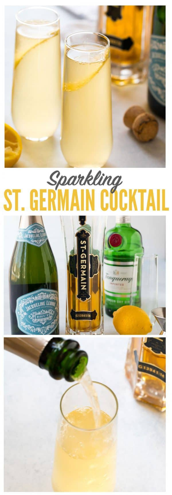 Sparkling St. Germain Cocktail with gin or vodka, fresh lemon, and topped with Prosecco or champagne. Easy and perfect for brunch, a special date night in, and parties!