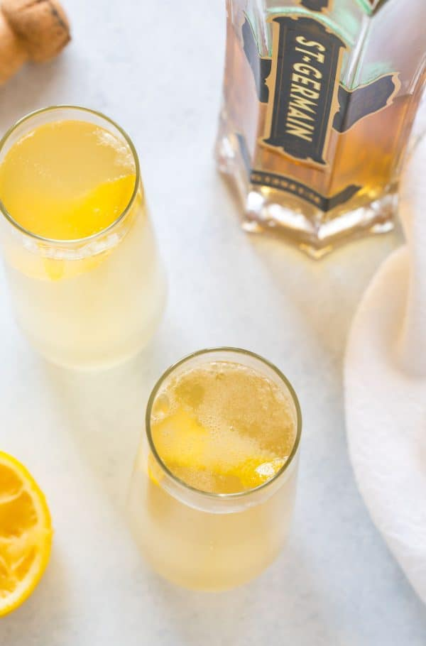 A bubbly, tasty cocktail made with gin or vodka, St. Germain, and champagne.