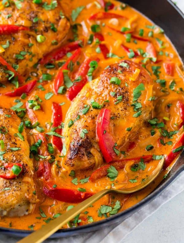 Easy, creamy One Pan Thai Chicken Curry. Simple, healthy, Whole30 chicken recipe!