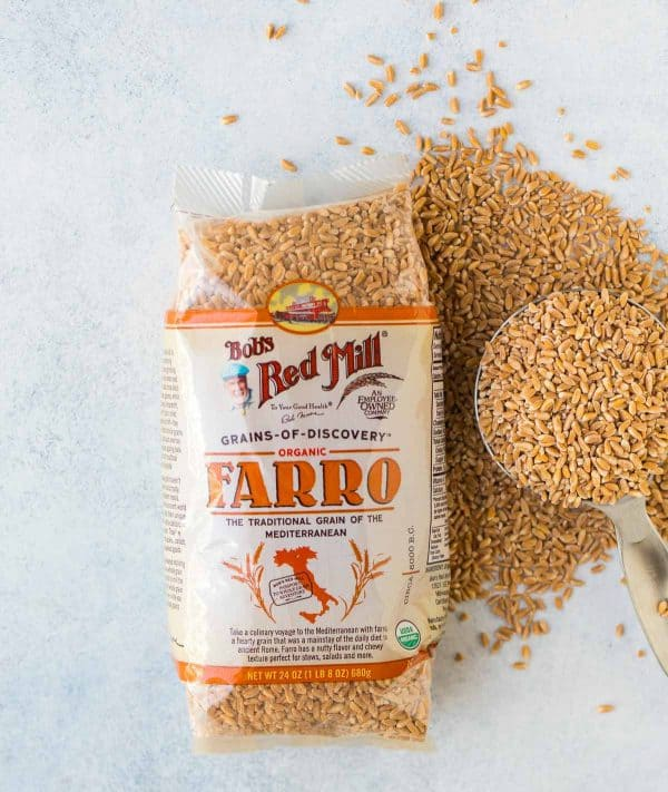 A bag of farro, which is a delicious, nutty grain that is wonderful in grain salad recipes like this Italian Farro Salad