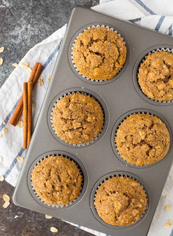 Best applesauce muffins, made with 100% whole grain flour, cinnamon, and other spices.