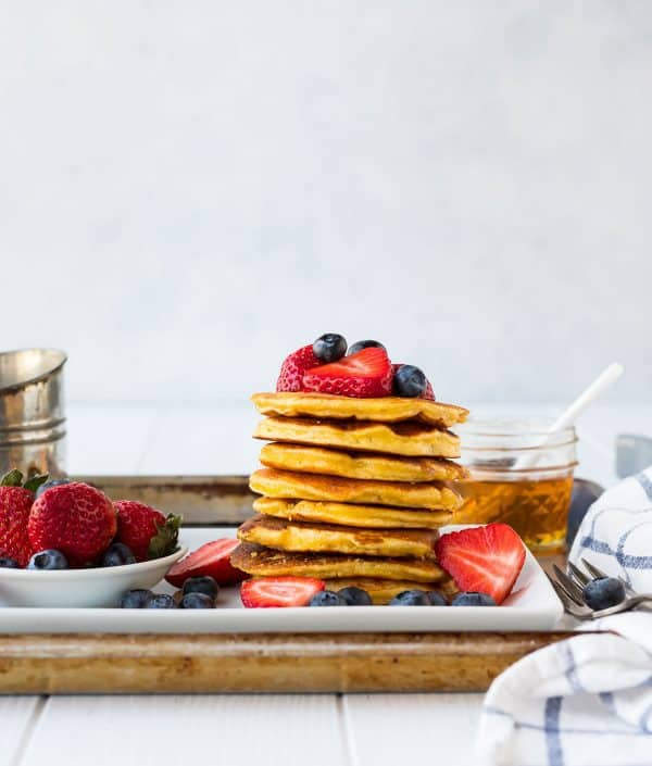 Low carb coconut flour pancakes. Healthy, high protein pancakes that are great for the keto diet.