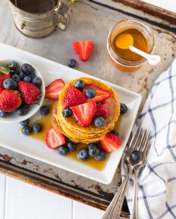High-protein, gluten-free Coconut Flour Pancakes are fluffy and delicious. Perfect for breakfast!