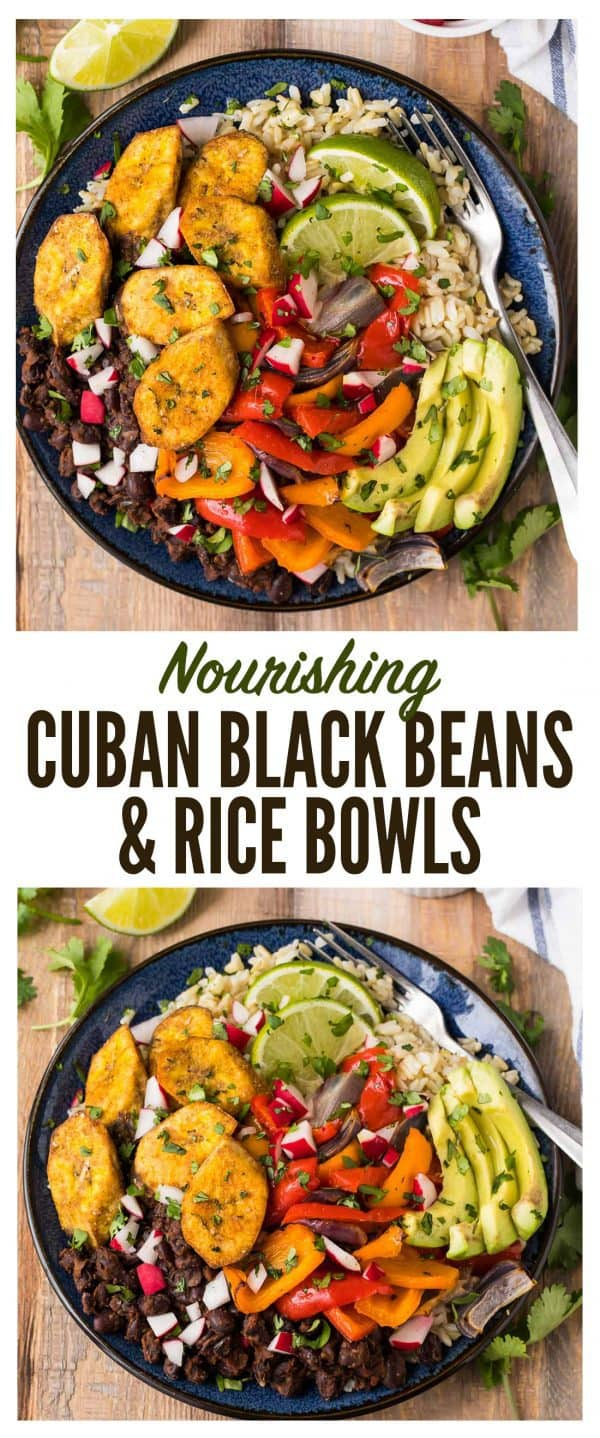 Nourishing Cuban Black Beans and Rice Bowls with baked plantains (tostones), roasted vegetables, and avocado. Packed with authentic Cuban flavors and ingredients. A healthy, filling, all-in-one recipe that's vegan and gluten free! #cuban #blackbeans #vegan #glutenfree