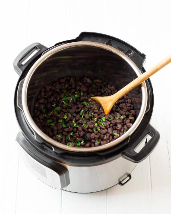 Instant Pot Black Beans. An easy pressure cooker recipe starting with dried black beans. Make them plain or Cuban style!