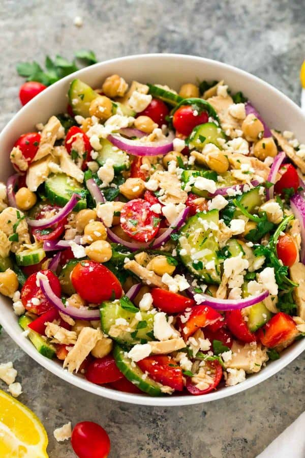Filling, healthy, easy Chickpea Tuna Salad.